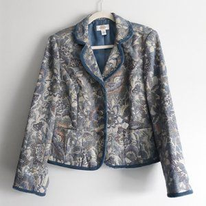 Talbots Floral Embroidered Blazer Jacket Sz 14